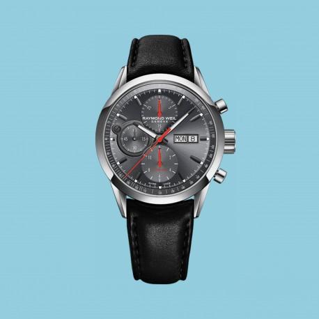 Freelancer Chronograph Grau Schwarzes Lederband