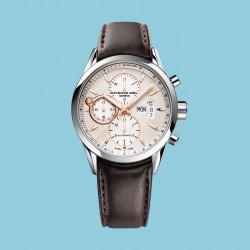 Freelancer Chronograph Silber Braunes Lederband