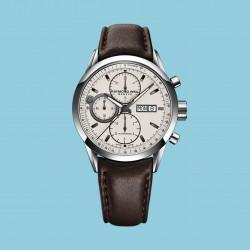 Freelancer Chronograph Silver Brown Leather Strap