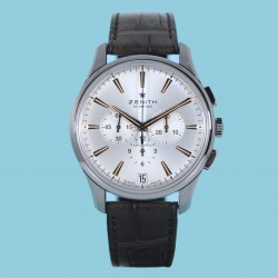 Zenith El Primero Chronograph Index silver leather strap