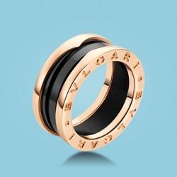 B.zero1 3-Band-Ring Roségold schwarze Keramik