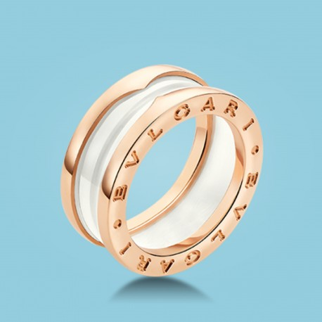 B.zero1 3-Band-Ring Roségold weiße Keramik