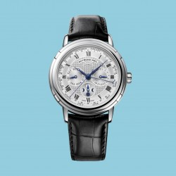 Maestro Moon phase Date Month Week, White Leather bracelet