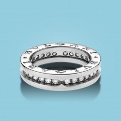 Bzero1 1-Band-Ring Weißgold und Diamanten (Größen: 51-59)