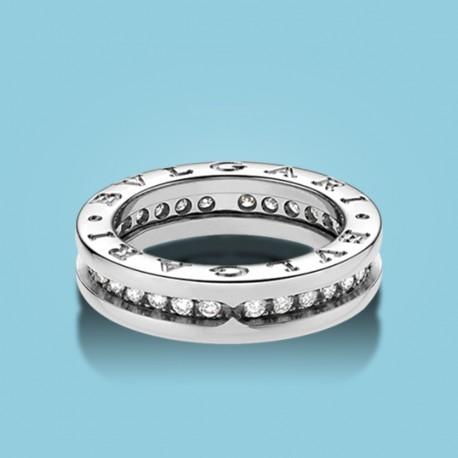 B.zero1 1-Band-Ring Weißgold und Diamanten