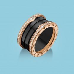 B.zero1 4-Band Ring Roségold, schwarze Keramik und Diamanten