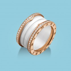 B.zero1 4-Band Ring Roségold, weiße Keramik und Diamanten