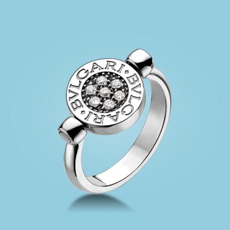 BVLGARI BVLGARI Flip Ring 18 kt Weißgold mit Onyx und Diamanten
