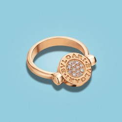 BVLGARI BVLGARI Flip Ring 18 kt Rosé Gold with Mother of Pearl and Diamonds