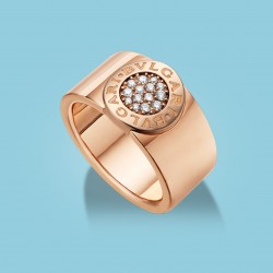 BVLGARI BVLGARI band ring in 18 kt pink gold with diamonds