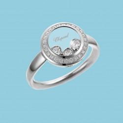 Happy Curves Kreis Ring 18 Karat Weißgold mit beweglichen und festen Diamanten
