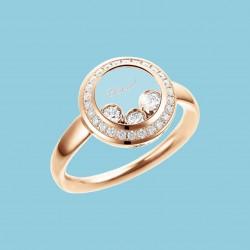 Happy Curves Kreis Ring 18 Karat Roségold mit beweglichen und festen Diamanten