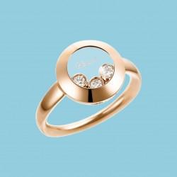 Happy Curves Kreis Ring 18 Karat Roségold mit beweglichen Diamanten