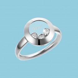 Happy Curves Kreis Ring 18 Karat Weißgold mit beweglichen Diamanten