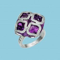 Imperiale Ring 18 Karat Weißgold mit Amethyst und Diamanten