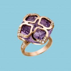 Imperiale Ring 18 Karat Roségold mit Amethyst und Diamanten