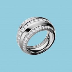 La Strada Ring 18 Karat Weißgold mit drei Diamantenreihen
