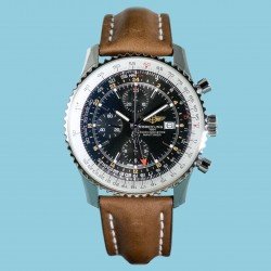 Navitimer World black Index leather