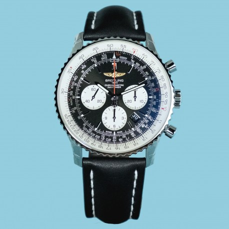 Navitimer 01 (46 mm) Index schwarz Lederband
