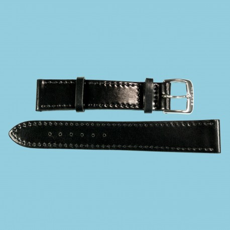 Nomos Shell Cordovan Lederband schwarz, Größe M, 18mm
