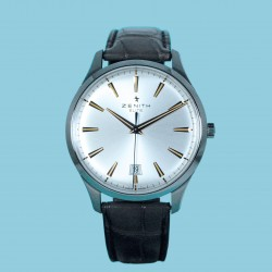 Zenith ELITE CENTRAL SECOND 40 MM Index silver leather strap