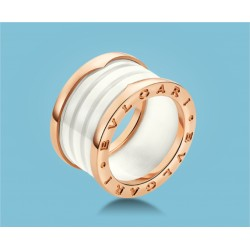 B.zero1 4-Band-Ring Rosé Gold Ceramic White