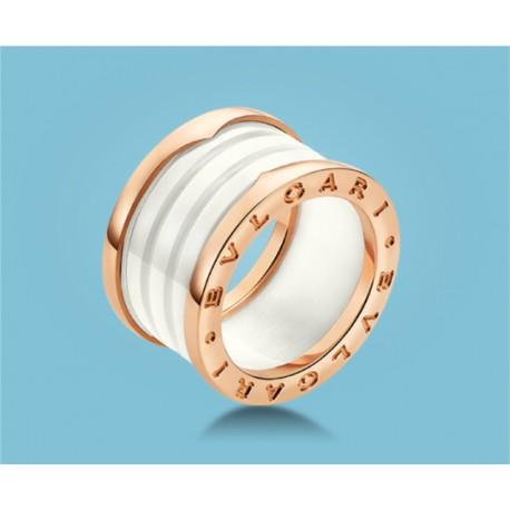 B.zero1 4-Band-Ring Roségold Keramik Weiß