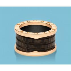 B.zero1 4-Band-Ring Roségold und brauner Marmor