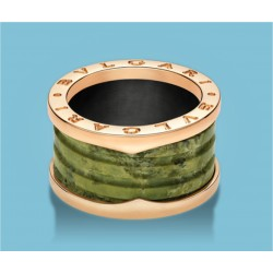 B.zero1 4-Band-Ring Rosé Gold and green Marble