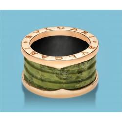 B.zero1 4-Band-Ring Roségold und grüner Marmor