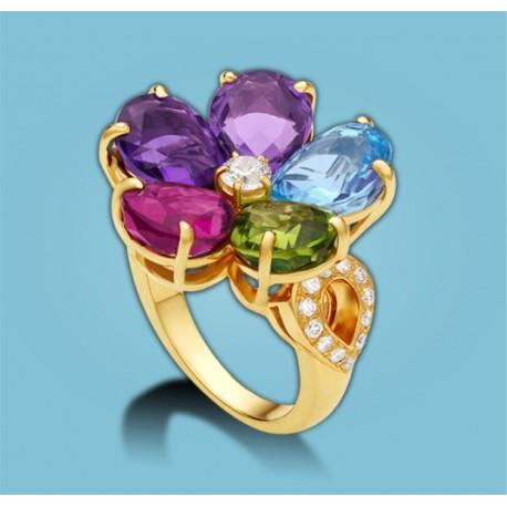 Sapphire Flower Gelbgold Pavé